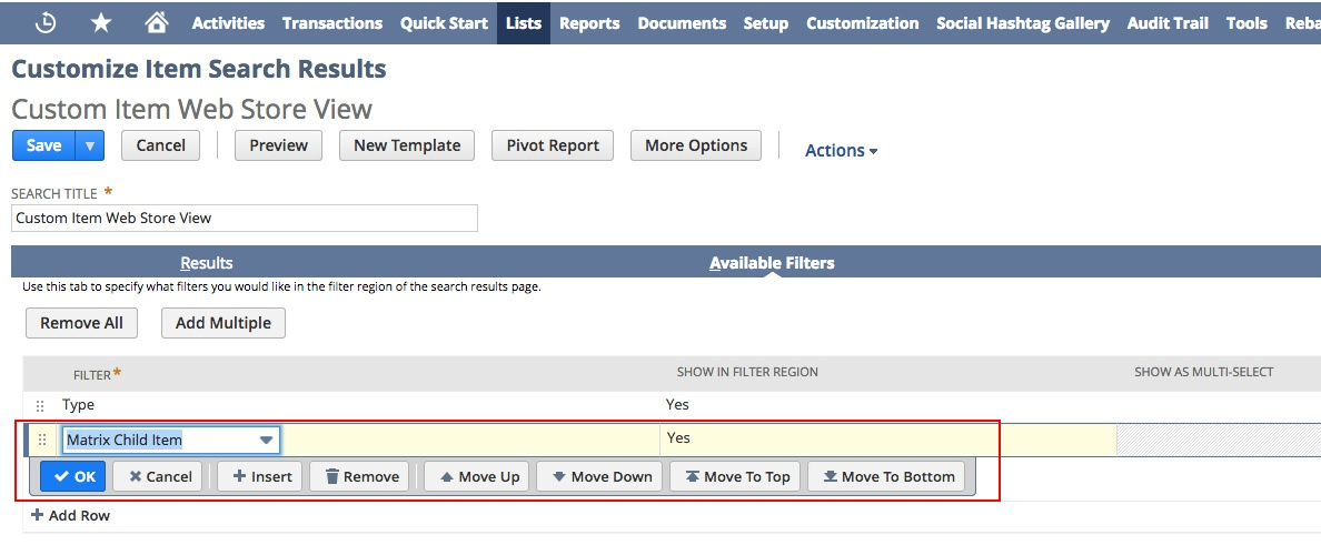 A screenshot of the NetSuite application. On the Customize Item Search Results page, Custom Item Web Store View, the Matrix Child Item filter has been highlighted.