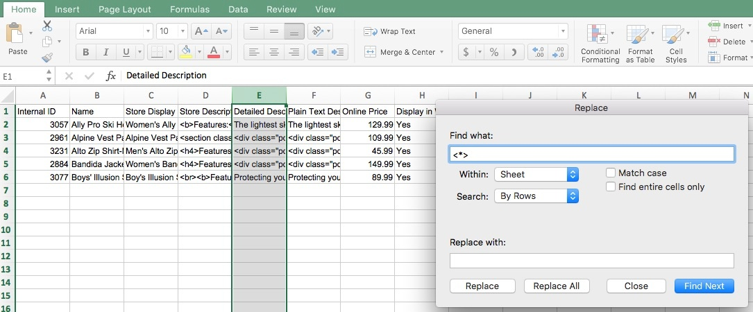A screenshot of Microsoft Excel. A column has been highlighted and the Replace dialog is open.
