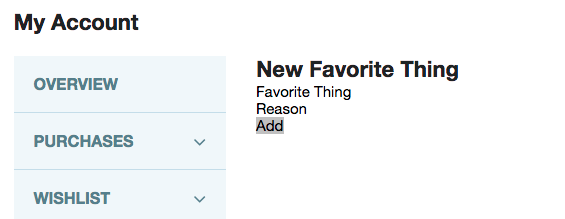 A form letting the user add further favorite things to their list