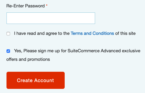 A screenshot of a web store showing the new terms and conditions checkbox