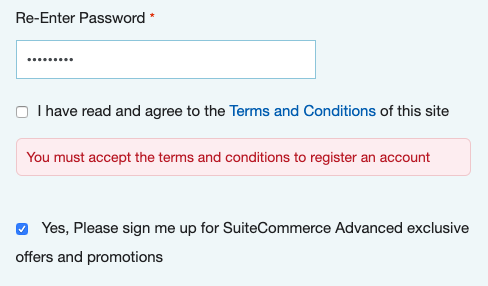 A screenshot of a web store registration page showing an error, pointing out that the user has not agreed to the site's terms and conditions