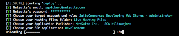 A screenshot of the command prompt, showing an example deployment of code up to a NetSuite account