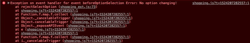 A screenshot of the browser's developer console, which shows the error that we have specified being thrown being returned.