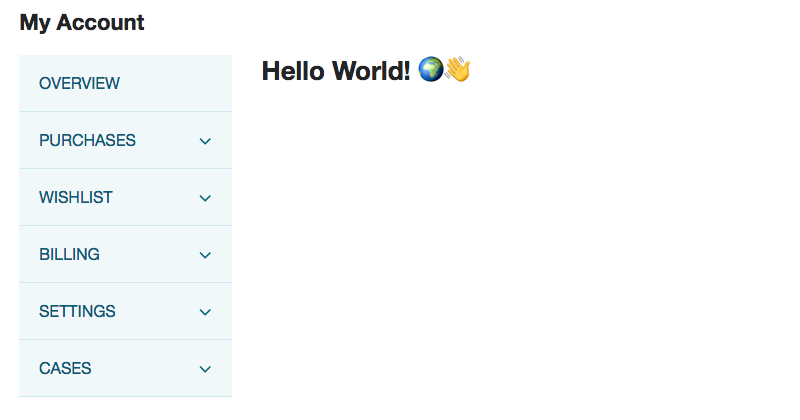 "A screenshot of a test site running the example code. A ""hello world"" message is shown next to emojis for the earth and a waving hand."