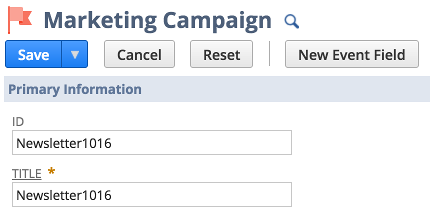 A screenshot of the NetSuite UI showing the creation of a new marketing campaign