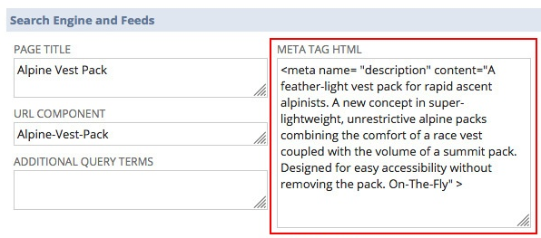 A screenshot of an item record in the NetSuite application. It shows a META TAG HTML field populated with the appropriate meta description.