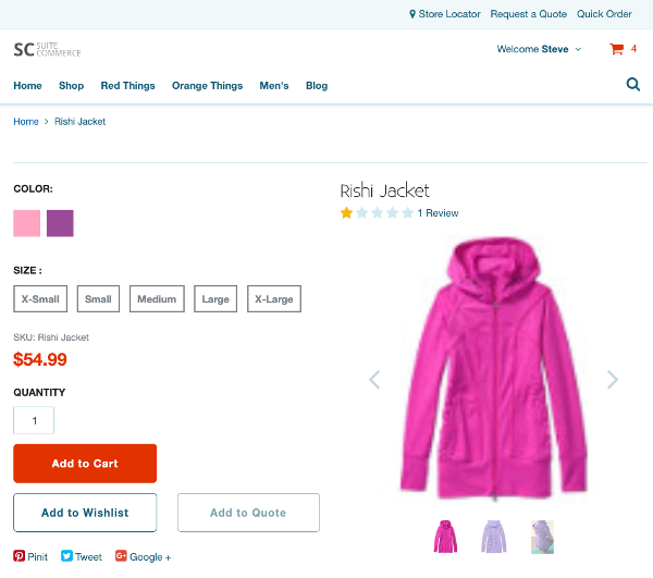 A screenshot of a web store's product detail page showing that the new layout has been applied