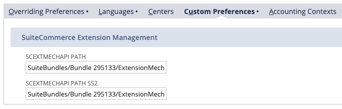 A screenshot of the NetSuite application. It shows the Custom Preferences tab on the Preferences page.