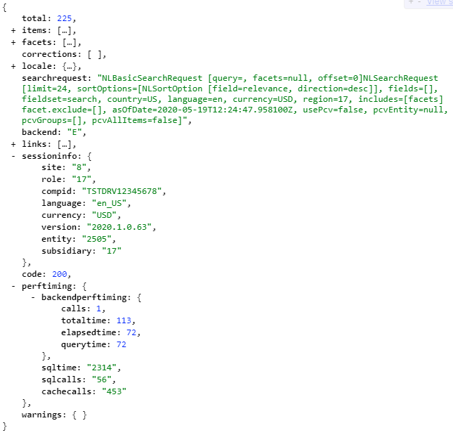 A screenshot of some JSON, which is an example response from a site's item search API