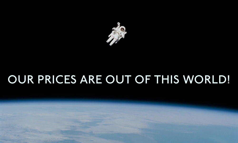 "An example banner image showing an astronaut orbiting above earth with the words ""Our prices are out of this world!"" imposed on top"