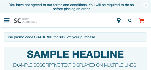 A screenshot of a SuiteCommerce webstore with a messaging banner shown at the top of the page.