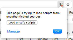 A screenshot of a web browser where the user is notified that there were attempts to load 'unsafe scripts'. In this example, the scripts are perfectly safe so the user is encouraged to allow them.