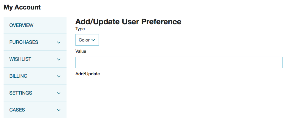 A screenshot of a test site showing a basic form that lets the user add or update a user preference