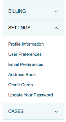 A screenshot of the test site showing a link to 'User Preferences' appearing in the 'Settings' menu as an item