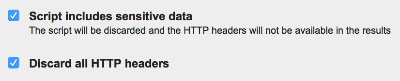 A screenshot of the 'Script includes sensitive data' and 'Discard all HTTP headers' options on WebPagetest