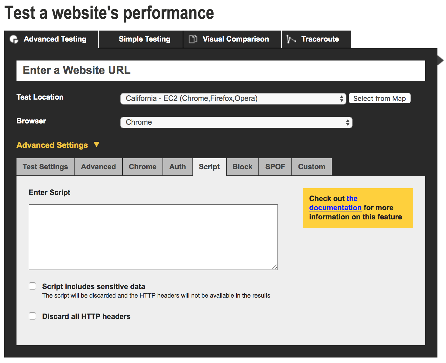 A screenshot of WebpageTest showing the 'Advanced Testing' tab