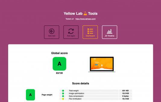A screenshot of an example result from Yellow Lab